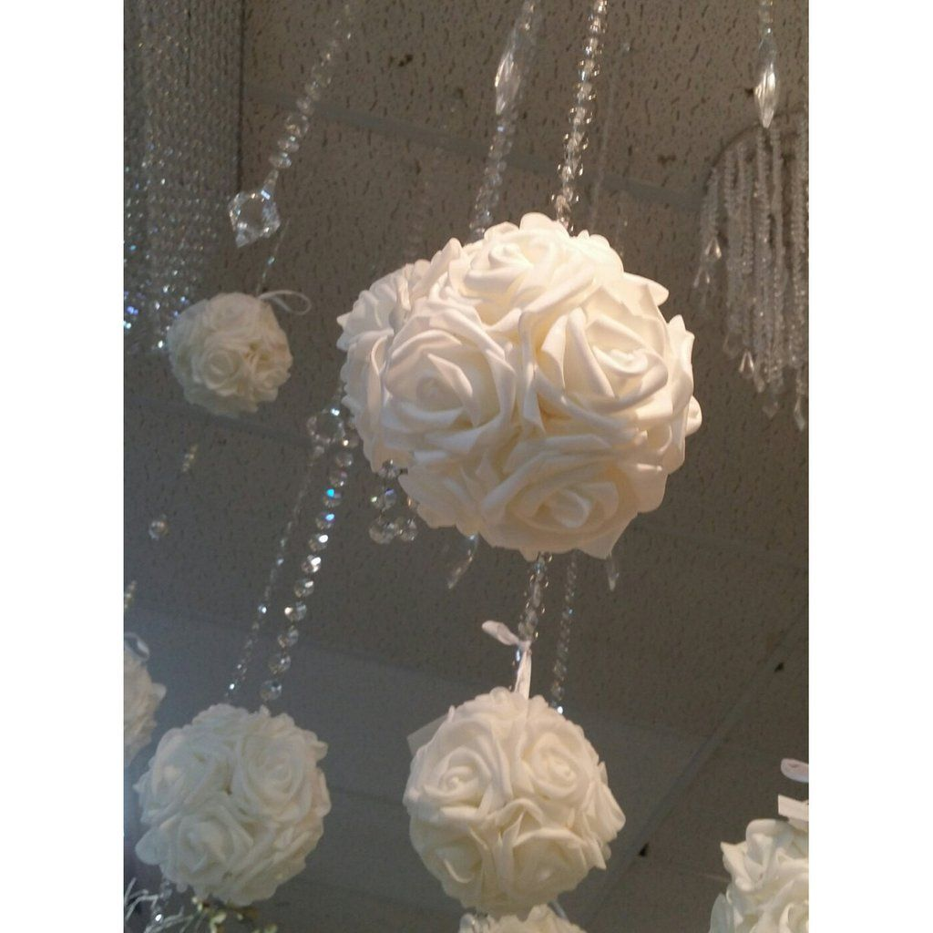 White Wedding Pomander 5 Pomander Flower Balls Flower Row Marker