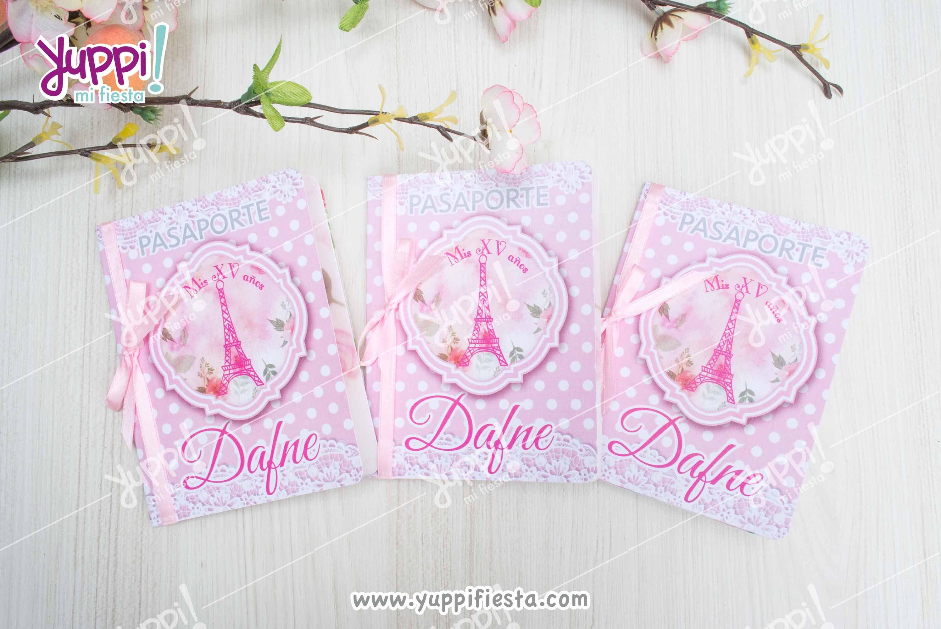 Invitaciones Pasaporte Paris Rosa Pastel Paris Rosa