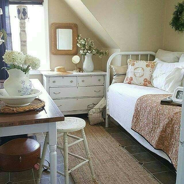 Impress Guests With 25 Stylish Modern Living Room Ideas: Guest Room InspO Old White Furniture And Vase Of Flowers