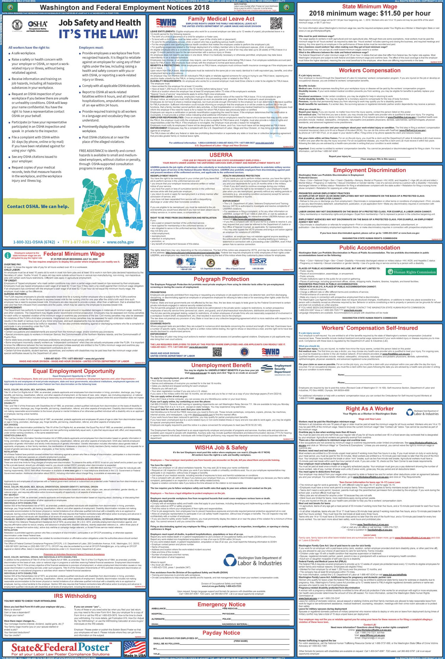Washington State and Federal Labor Law Poster 20172018