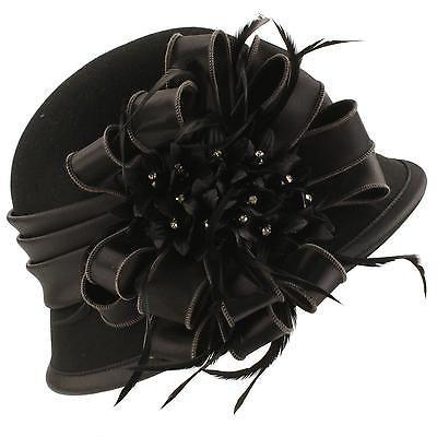 984120fe5f0 Winter Wool Satin Ribbon Bow Feathers Jewels Cloche Bucket Hat Adjustable  Black