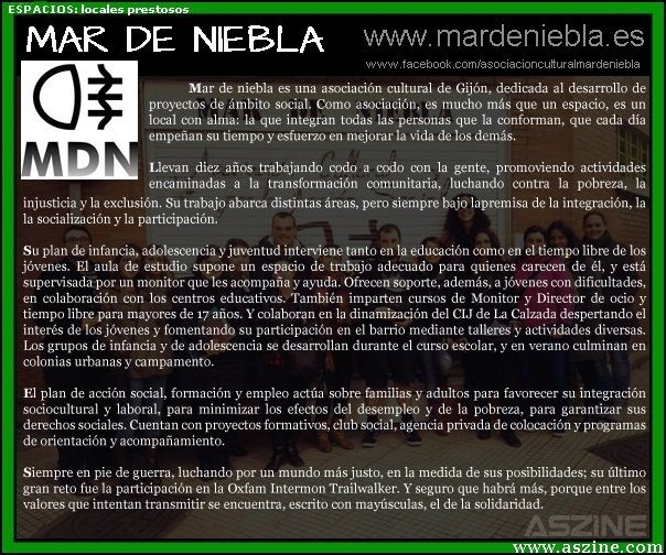 Mar de Niebla (Gijón): #asociacion #cultural, #cooperacion, #desarollo, #integración, #infancia, #juventud, #tiempo libre, #formación, #pobreza, #empleo, #solidaridad