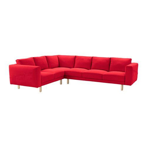 IKEA - NORSBORG, Klädsel hörnsoffa 2+3/3+2, Finnsta röd, , Klädseln är lätt att hålla ren eftersom den är avtagbar och maskintvättbar.