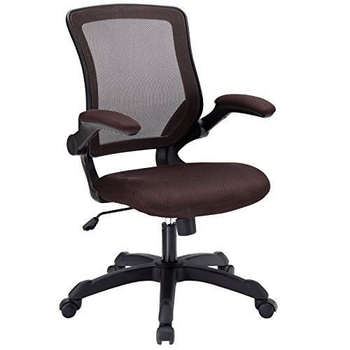 modway veer office chair with mesh back and brown vinyl seat with