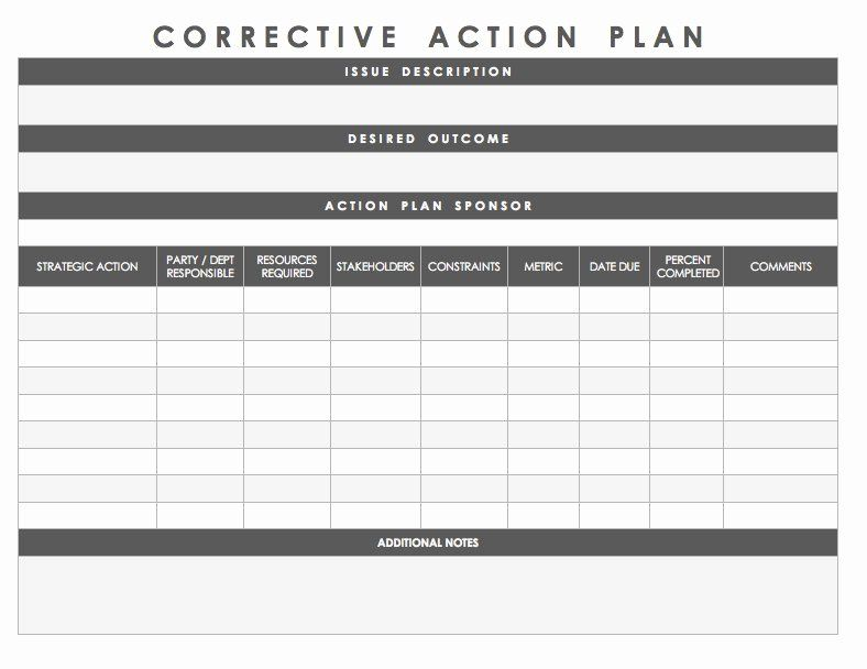 30 corrective action plan template healthcare in 2020
