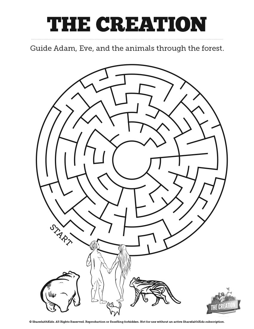 The Creation Story Bible Maze Activity Your Kids Will Enjoy The Challenge Of Finding The Path Sunday School Lessons Sunday School Kids Bible Lessons For Kids