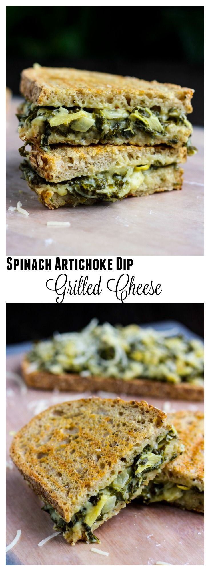 ****My FAVORITE grilled cheese sammie ever!!**** A crispy grilled cheese sandwich with a cheesy, creamy spinach artichoke dip filling.