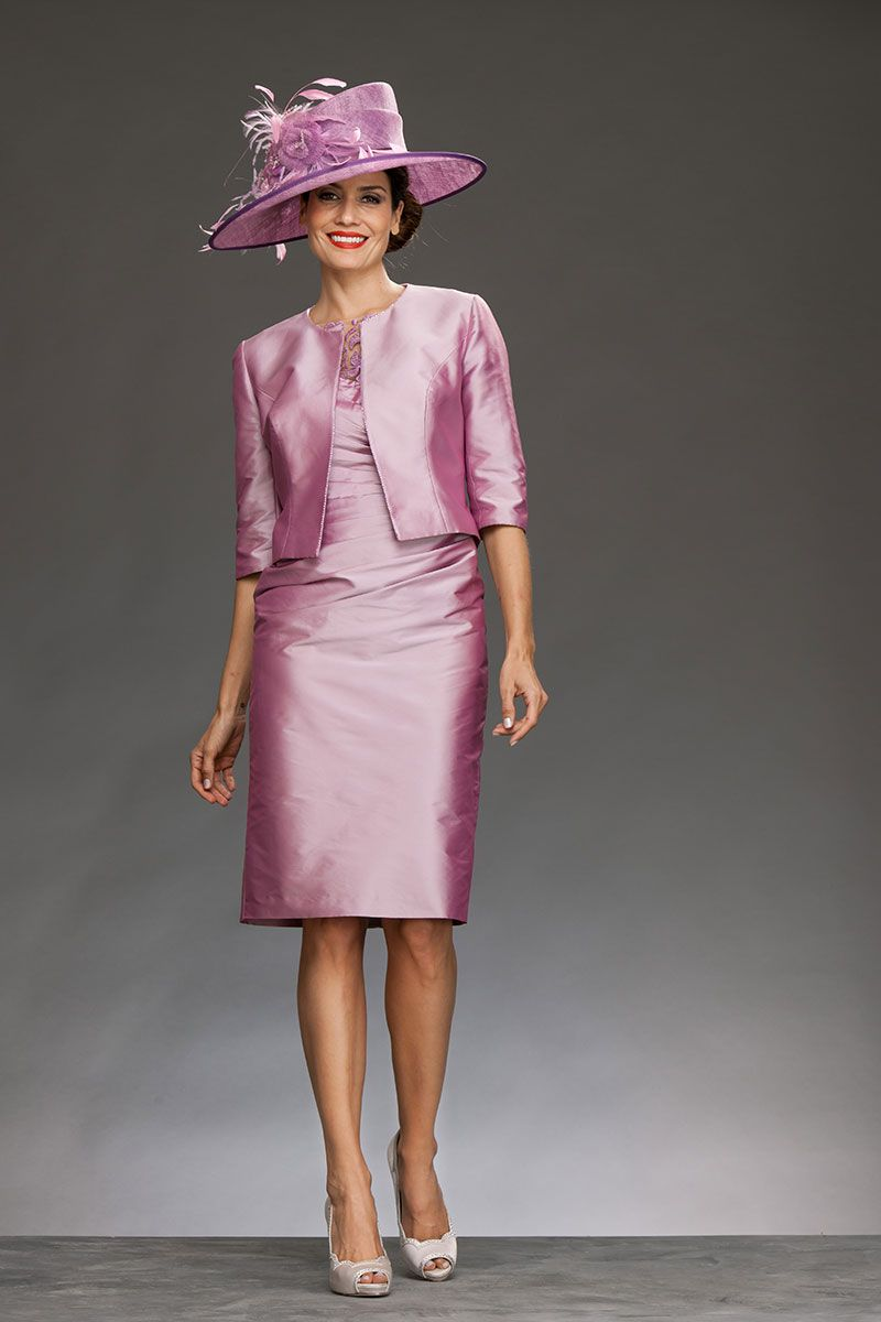 Pink lace dress with jacket  Short John Charles fitted dress with sleeves and full jacket B