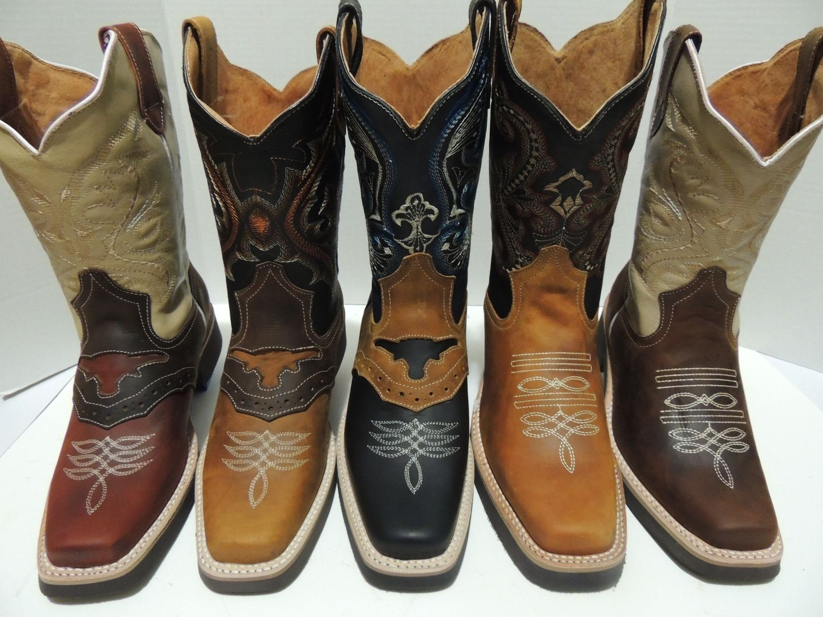 Men's cowboy boots genuine cowhide leather rodeo square toe ...