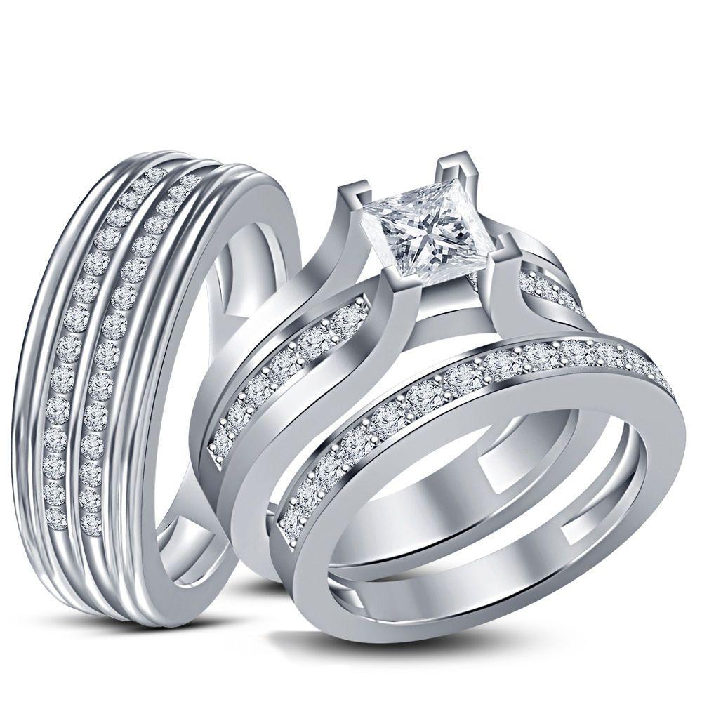 VVS1 Diamond 925 Sterling Silver Princess &Round Wedding