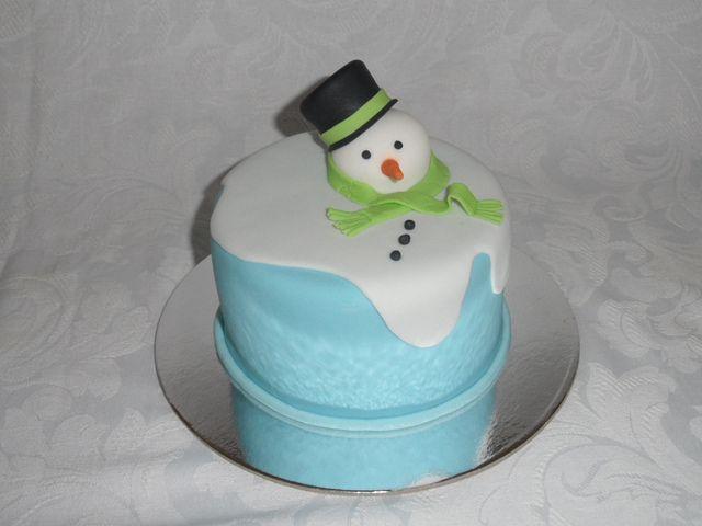 Xmas Mini Cake Melting Snowman