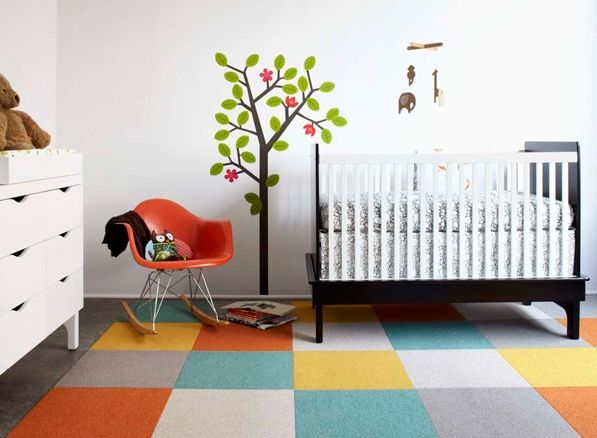 Everything I Love In One Nursery Tree Decal Eames Rocker Great Looking Crib Fanciful Sheets And Fantastic Flooring