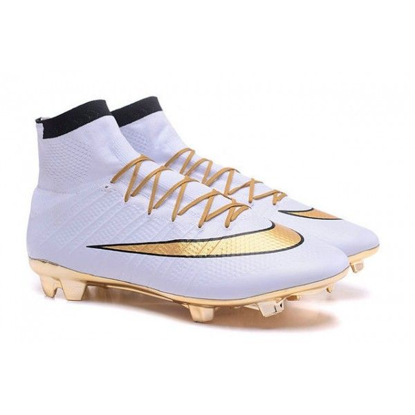 2016 Nike Mercurial Superfly Mens Firm-Ground Soccer Cleats Gold White Black