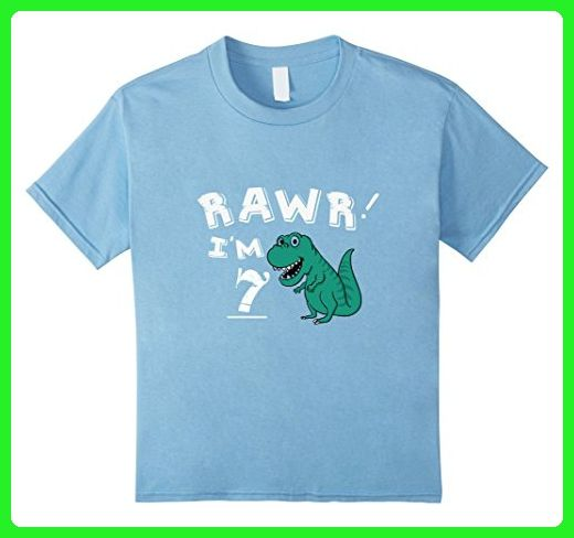 Kids 7th Birthday Dinosaur Gift T Shirt For 7 Year Old Boys 6 Baby Blue