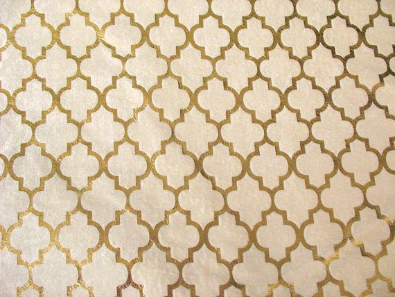 Ivory and Gold Moroccan Print Gold Foil Print Velvet Upholstery Fabric Sold by Yard
