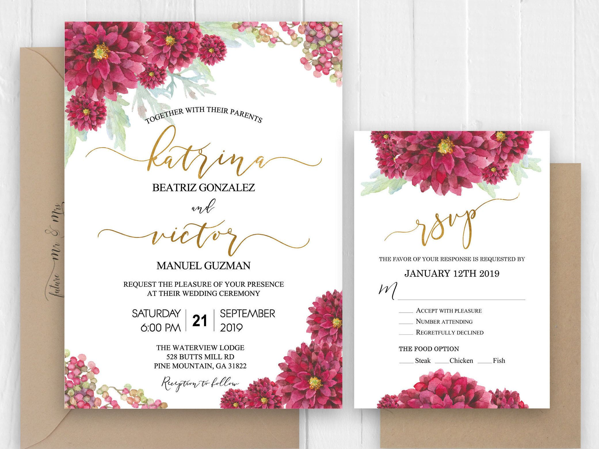Burgundy Gold Wedding Invitation, Free Envelope RSVP Card
