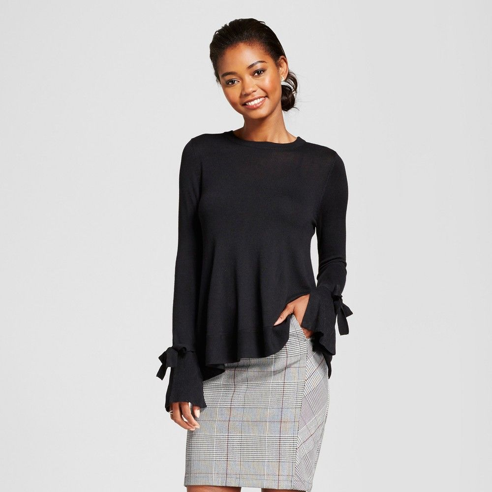 Women's Relaxed Bell Sleeve Any Day Pullover Sweater - A New Day Black Xxl
