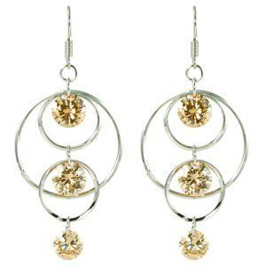 Yellow CZ Accent Triple Graduated Hoops Dangle Earrings le Jane. $19.00. Save 34% Off!
