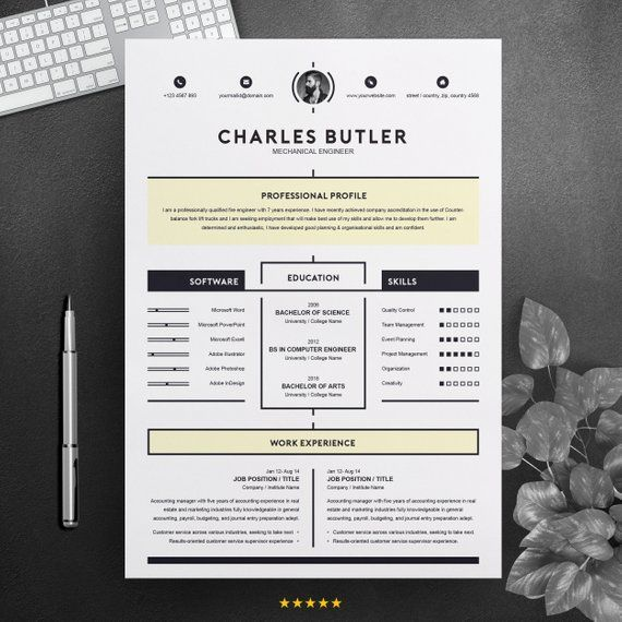 Creative Modern Resume For Job 2 Pages Printable Clean Cv Etsy In 2021 Creative Resume Templates Resume Template Creative Resume