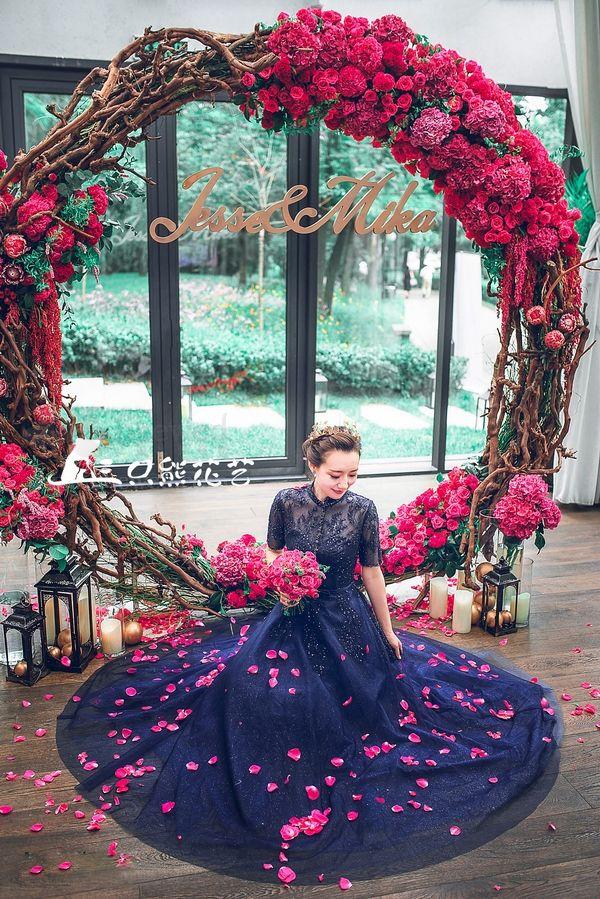 Fuchsia Hot Pink Navy Blue Bridal Photography Shot Idea Accessories www.allofyou.etsy.com