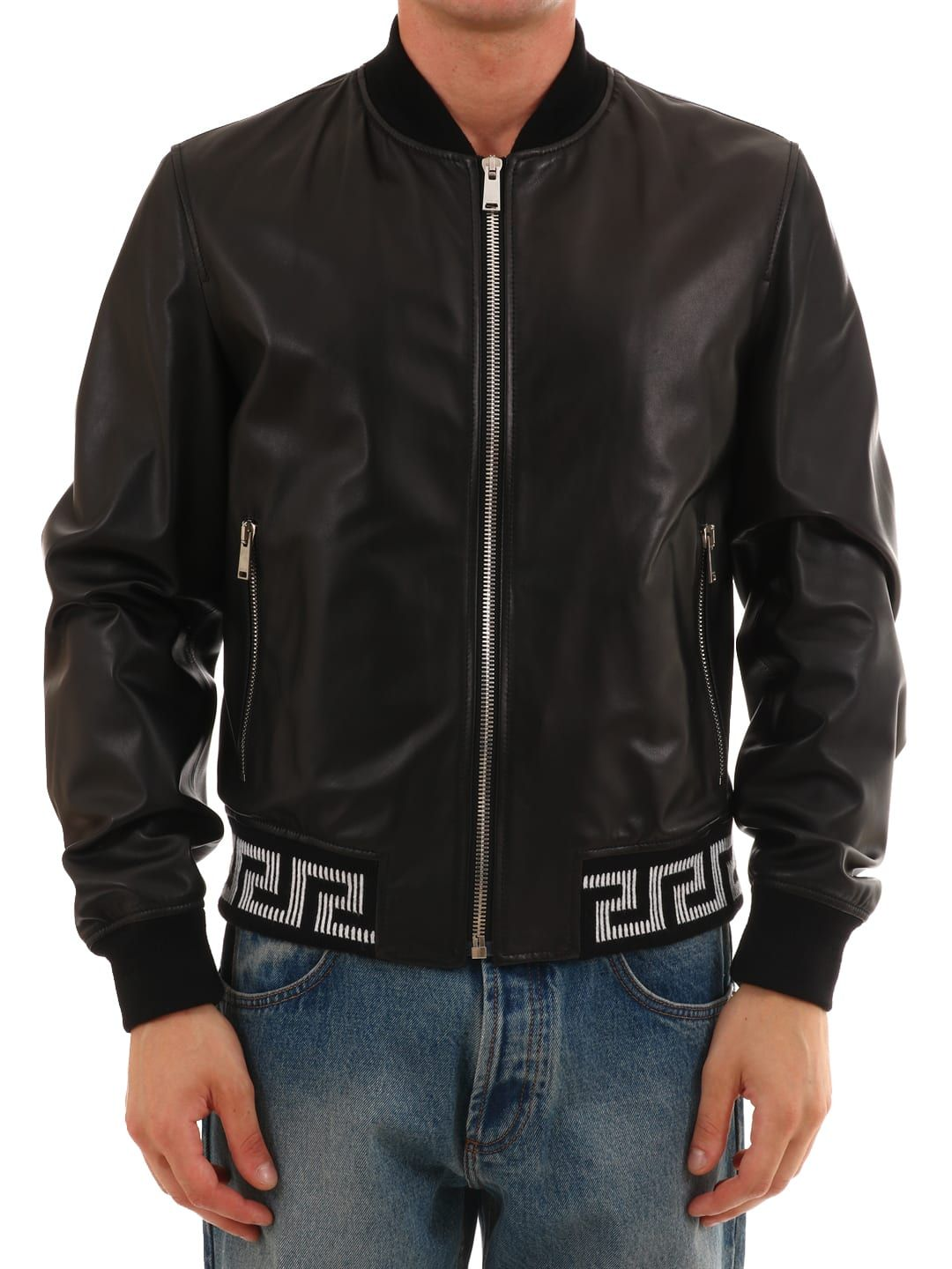 Versace Bomber In Black Leather Modesens Leather Bomber Jacket Leather Jacket Jackets [ 1440 x 1080 Pixel ]