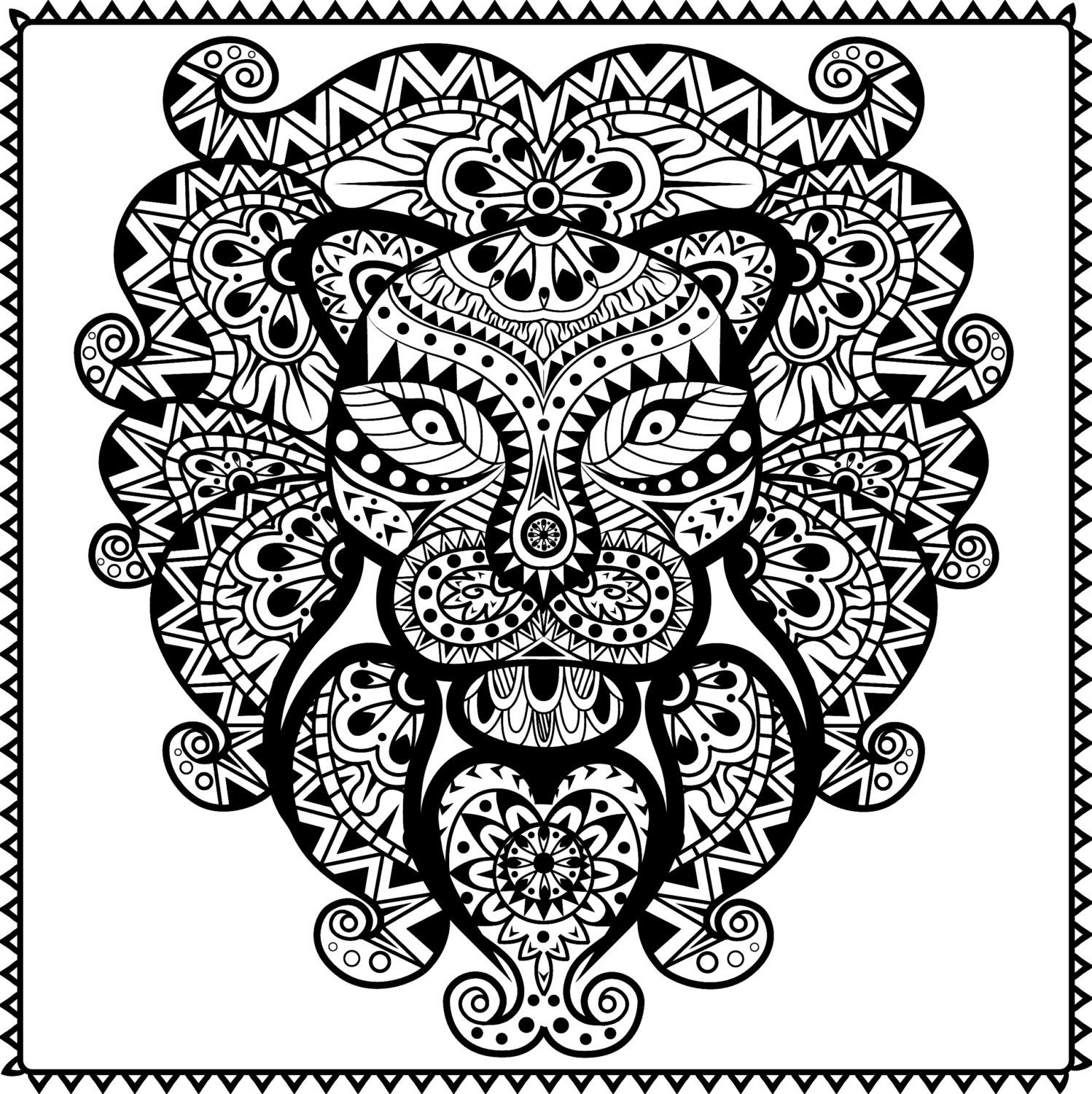 Abstract Tribal Lion Coloring Page for Adults, PDF / JPG, Instant ...