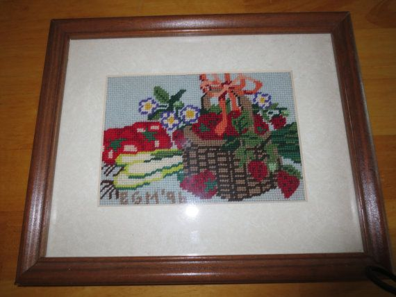 Needlepoint Basket of Strawberries with Vegetables by slumbersoft