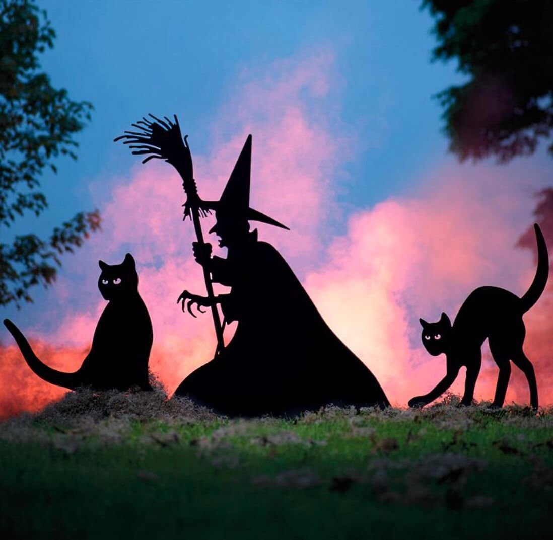 Scary Halloween Decor Witch And Cats Witch Silhouette Outdoor Halloween Scary Halloween Decorations