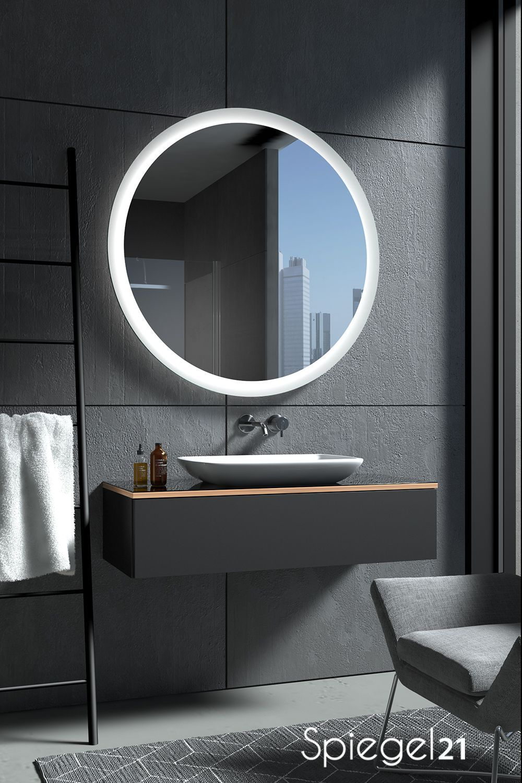 Runder Badspiegel Charon Ab 40 Cm Bis 120 Cm Durchmesser Spiegel Nach Ma Mit Lichtstarker Led Beleuchtung In 2020 Round Mirror Bathroom Bathroom Mirror Mirror