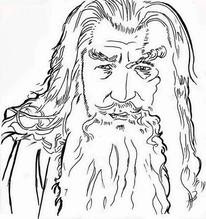 A Closeup Gandalf Sketch From Lord Of The Rings Coloring Page | art ...