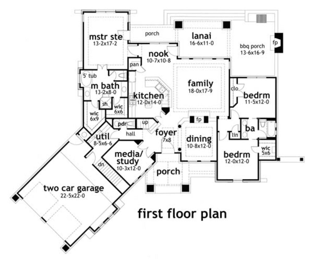 House Plans With Media Room angled media room on front craftsman style house plan - 3 beds 2.5