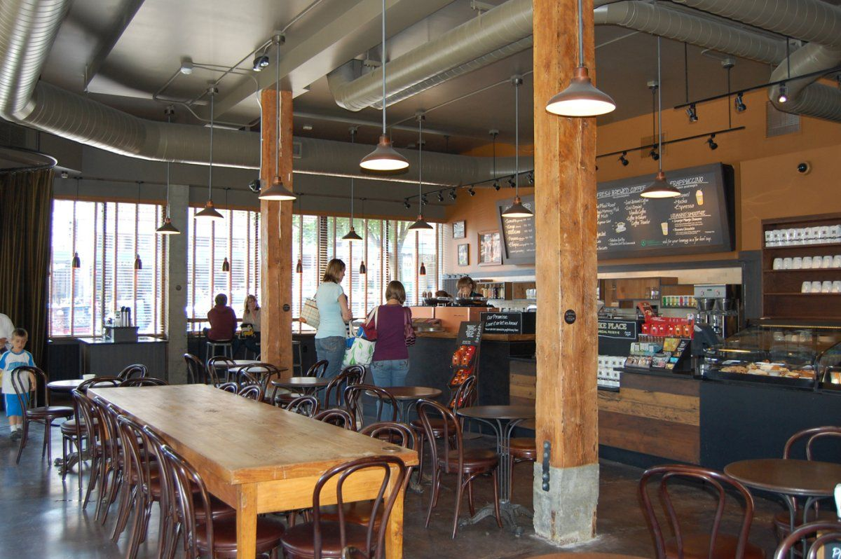 Old Style Starbucks Interior with Industrial Style Theme ...