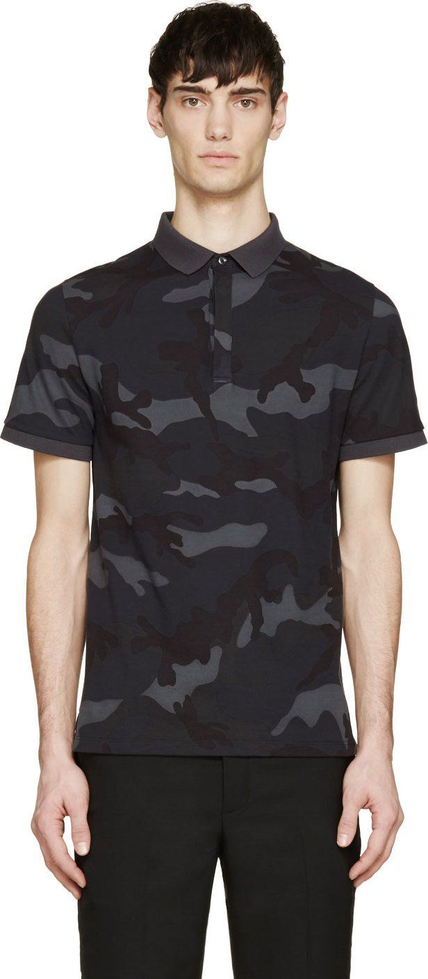 014256b2 Valentino Grey & Blue Camouflage Polo | Tees | Polo shirt outfits ...