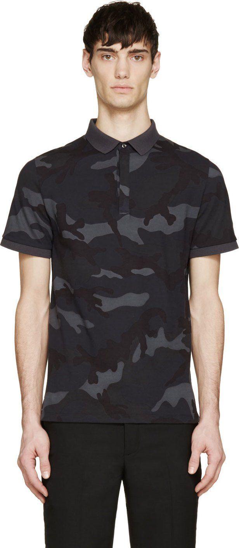 b2883939 Valentino Grey & Blue Camouflage Polo | Tees | Polo t shirts ...