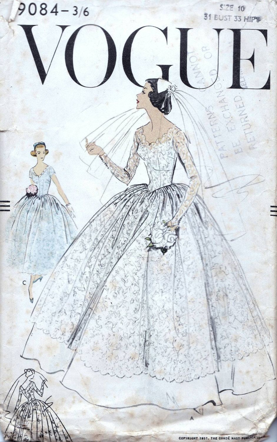 18s Vogue Wedding dress sewing pattern 18, bust 18 inches ...