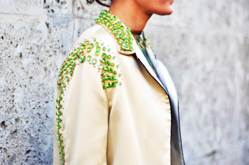 Rhinestones on a trench...