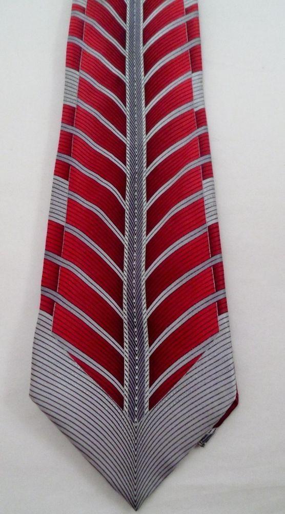 Silk Men's Necktie by Mezzo Matt Red and Grey Deco Chevron 61L 4W