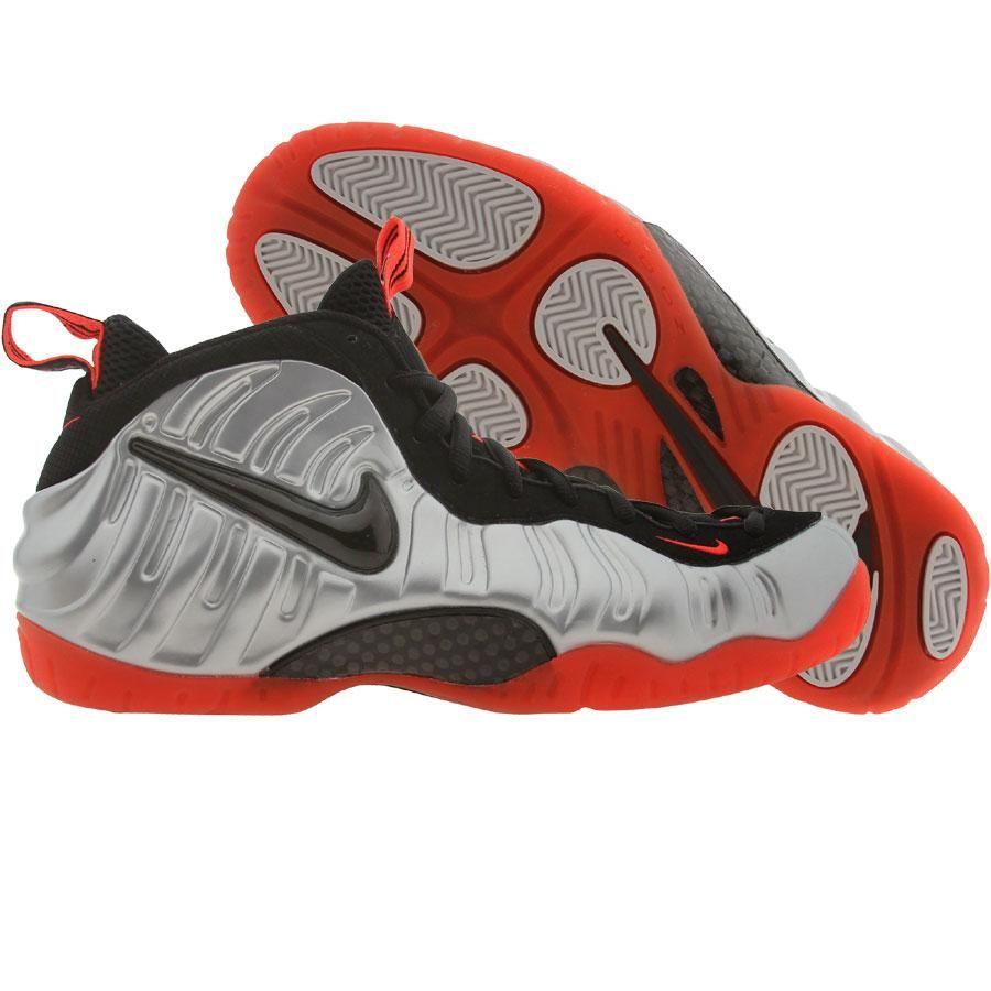 Nike Air Foamposite Pro shoes - Crimson in metallic platinum, black, and bright  crimson.