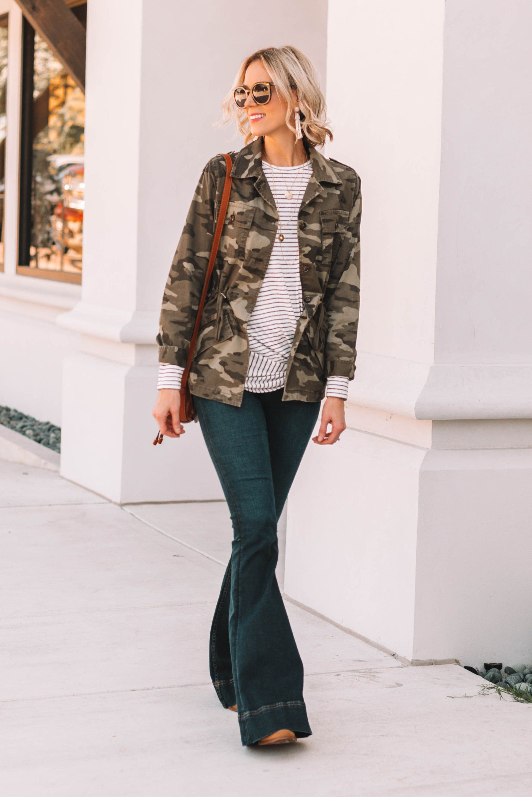 Camo And Stripes Fun Print Mix Straight A Style Camo Jacket Women Jacket Outfit Women Camo Jacket Outfit Fall [ 3235 x 2160 Pixel ]