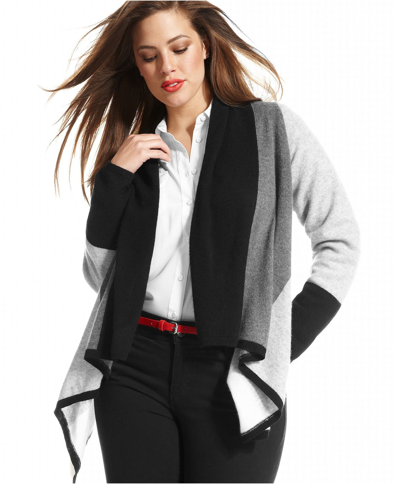Charter Club Plus Size Sweater, Long-Sleeve Colorblock Draped ...