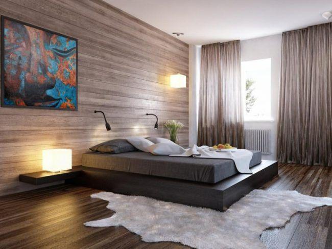 Schlafzimmer Modern Holz Wand Fussboden Fell Bett Schwarz