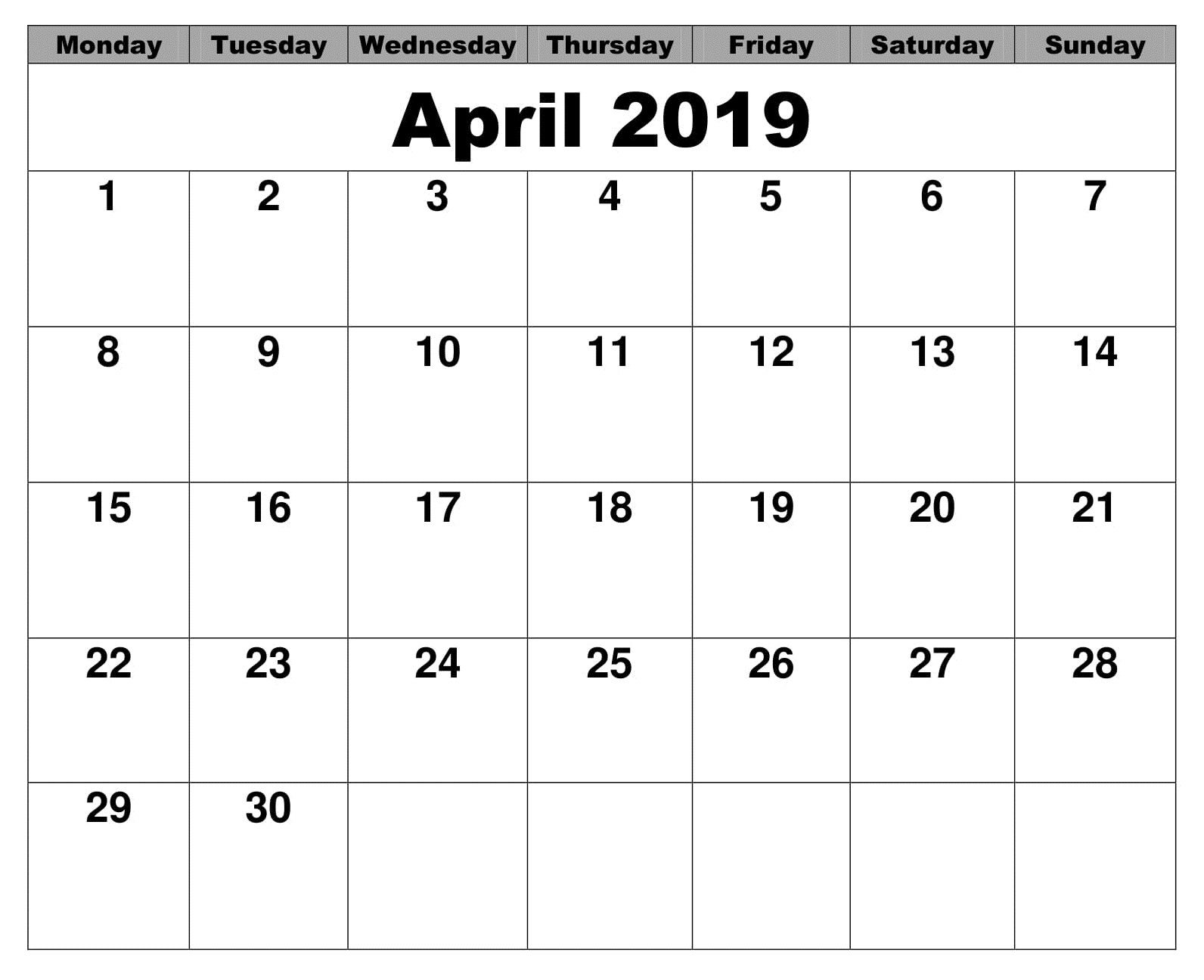 Stupendous Blank April Calendar 2019 Excel April Calendar 2019 Beutiful Home Inspiration Truamahrainfo