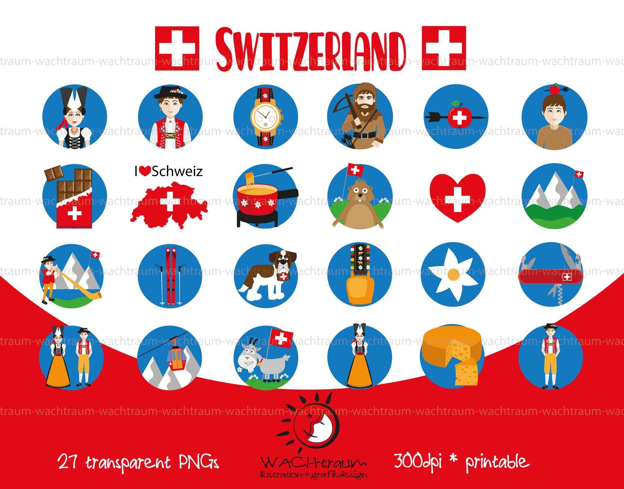 Digital Clipart Set Typical Switzerland 27 Pieces Png 300dpi