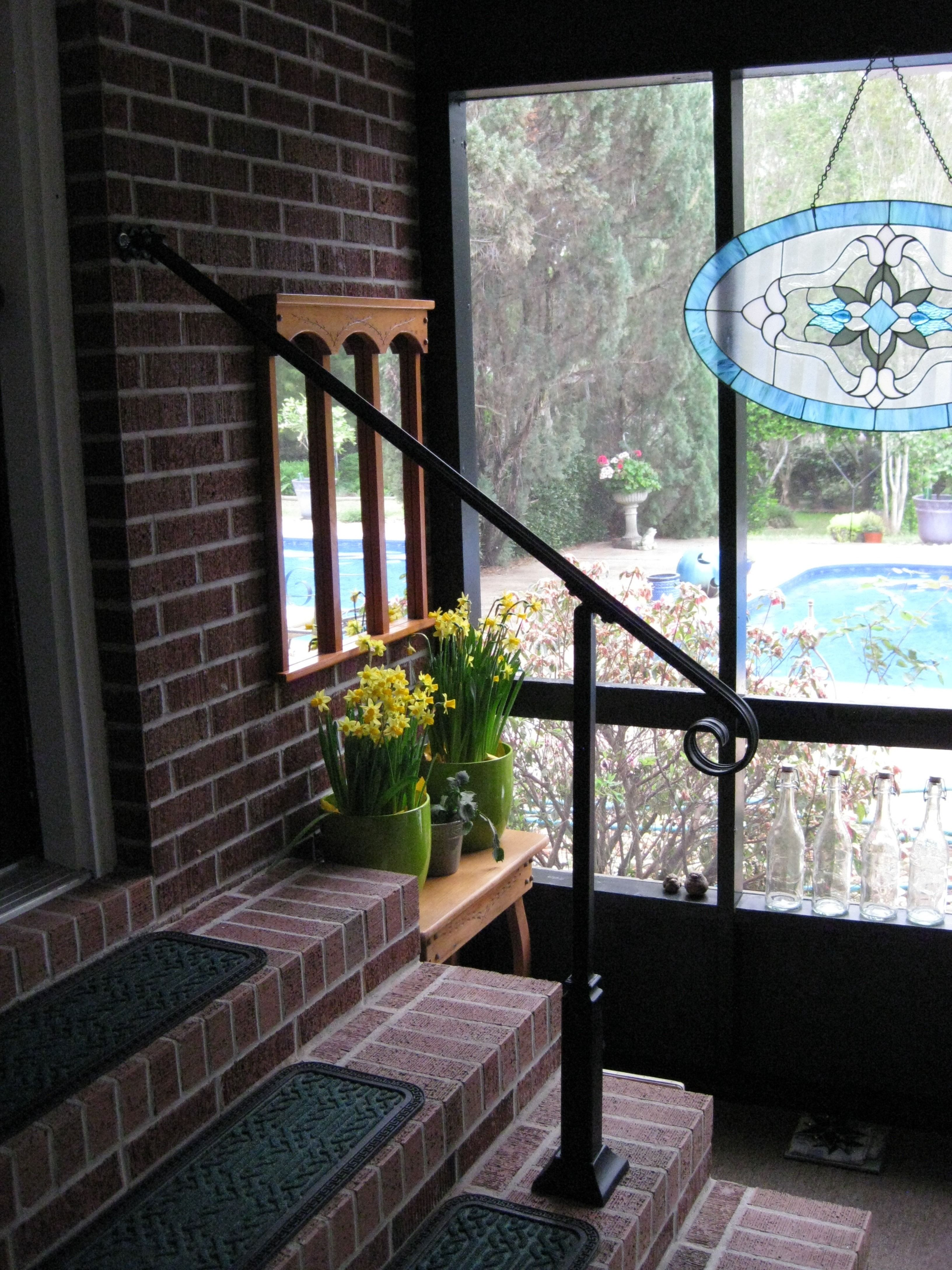Wrought Iron Wall Mount Post Mount Rail | Iron handrails ...
