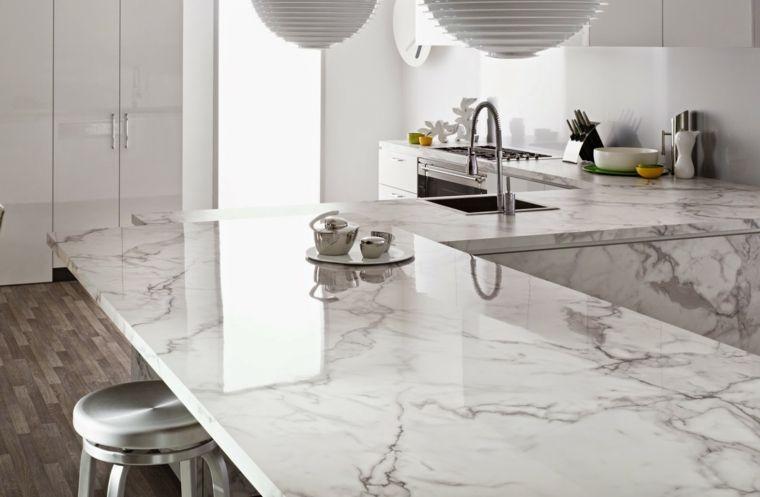 Encimeras cocina 66 ideas incre bles de encimeras de for Color marmol carrara