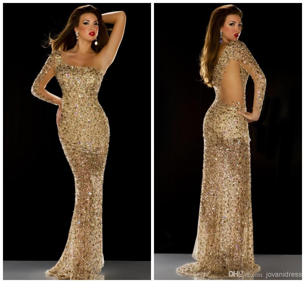 2104 Long Sleeves Gold Rhinestones Formal Pageant Gowns with Crystals One  Shoulder Evening Dresses Prom Dress Evening Gowns Long Sequins HOT Online  with ... 6697fd18eb96