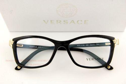 04f310bb477 Brand New VERSACE Eyeglasses Frames 3156 GB1 BLACK for Women 100% Authentic