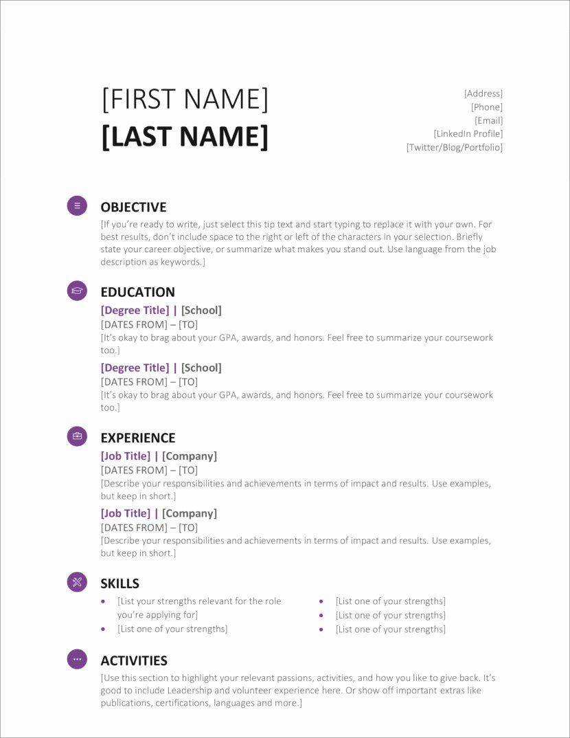 25 Microsoft Office Resume Templates in 2020 Modern