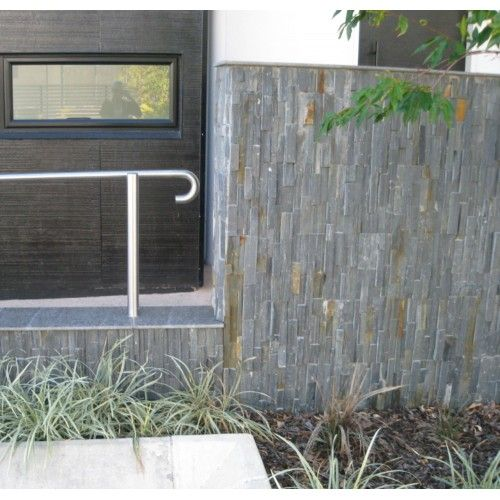 Running Vertically Split Face Black Slate Stack Stone Exterior Stone Wall Cladding Stone Cladding