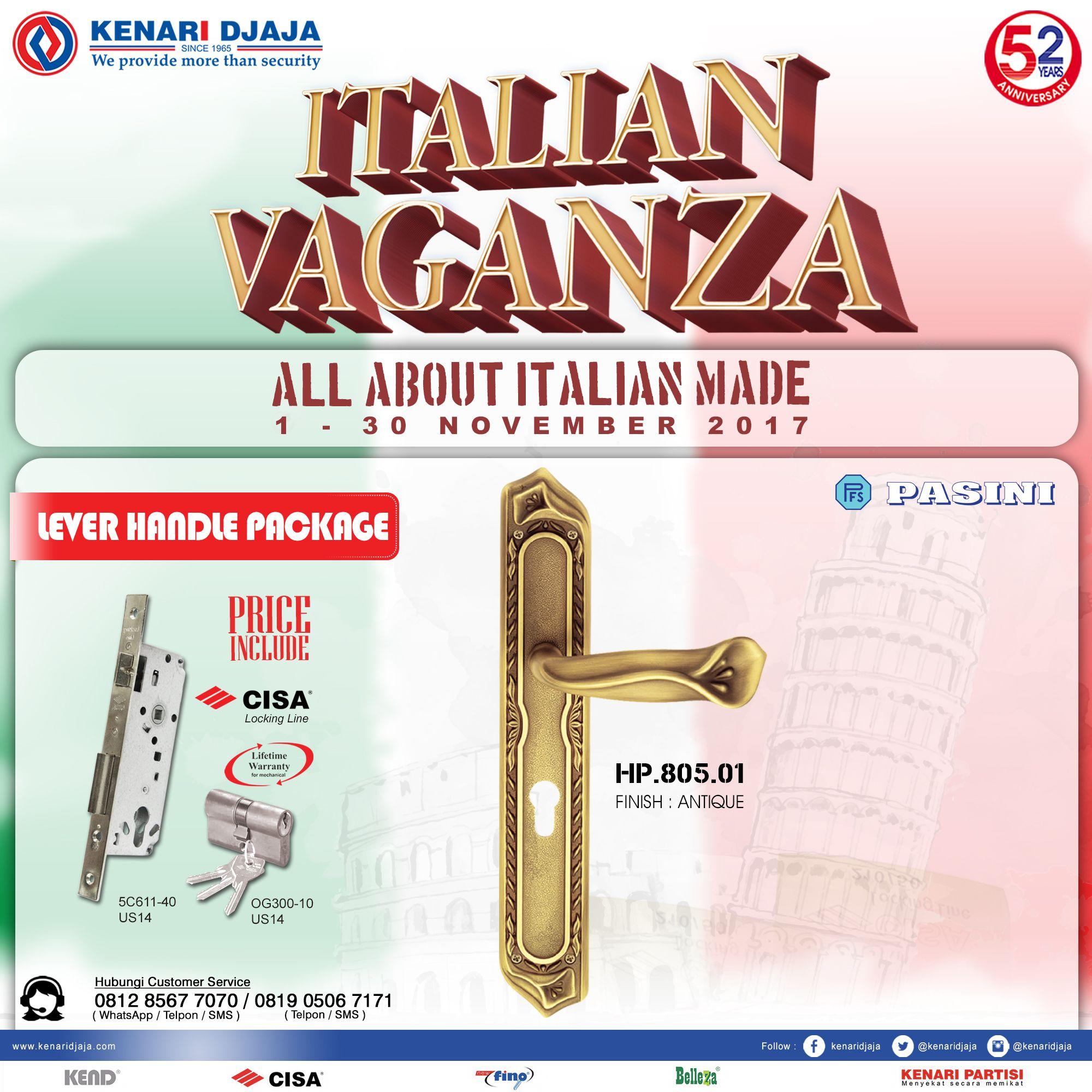 """Segera Kunjungi Showroom Kenari Djaja Terdekat ... Nikmati Promo Istimewanyanya """"ITALIAN VAGANZA"""" Berlangsung Dari Tanggal 1 - 30 Nopember 2017. Paket Handle Set Dengan Harga Wooow  Informasi Hub. : Ibu Tika 0812 8567 7070 ( WA / Telpon / SMS ) 0819 0506 7171 ( Telpon / SMS )  Email : digitalmarketing@kenaridjaja.co.id  [ K E N A R I D J A J A ] PELOPOR PERLENGKAPAN PINTU DAN JENDELA SEJAK TAHUN 1965  SHOWROOM : JAKARTA & TANGERANG 1 Graha Mas Kebun Jeruk Blok C5-6 Telp : (021) 536 3506"""